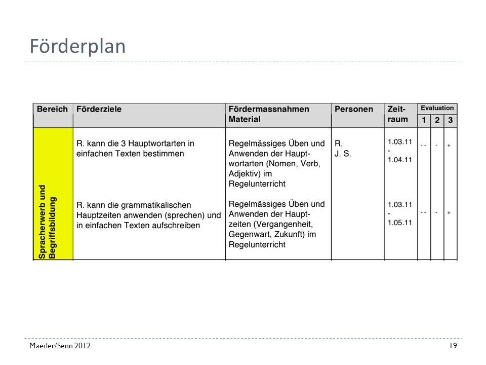 Förderplan Maeder/Senn 2012