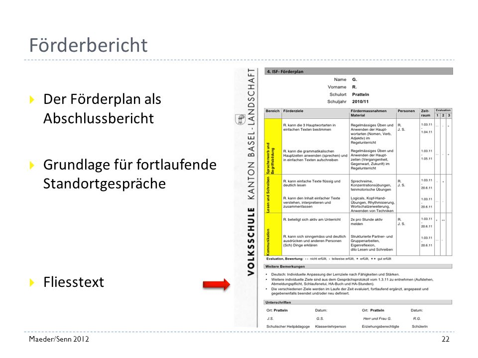 Förderbericht Der Förderplan als Abschlussbericht