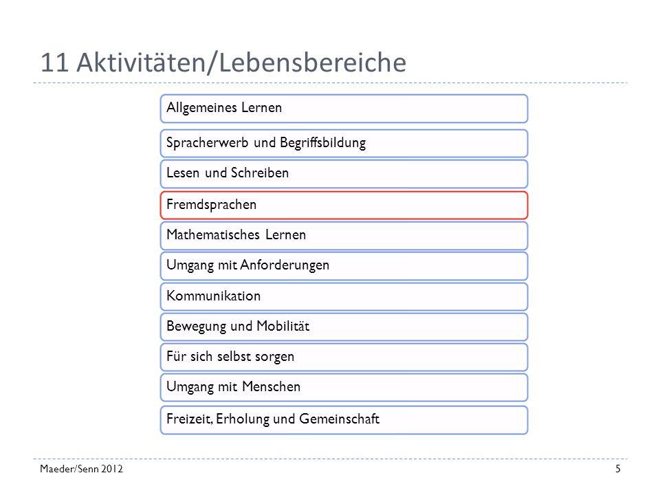 11 Aktivitäten/Lebensbereiche