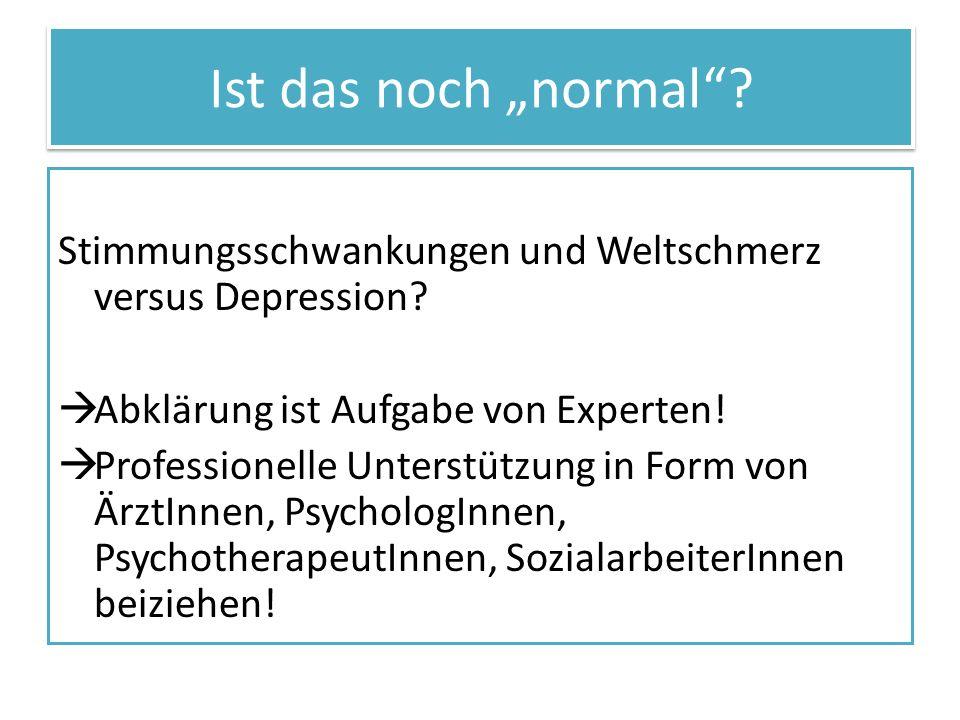 """Ist das noch """"normal Stimmungsschwankungen und Weltschmerz versus Depression Abklärung ist Aufgabe von Experten!"""
