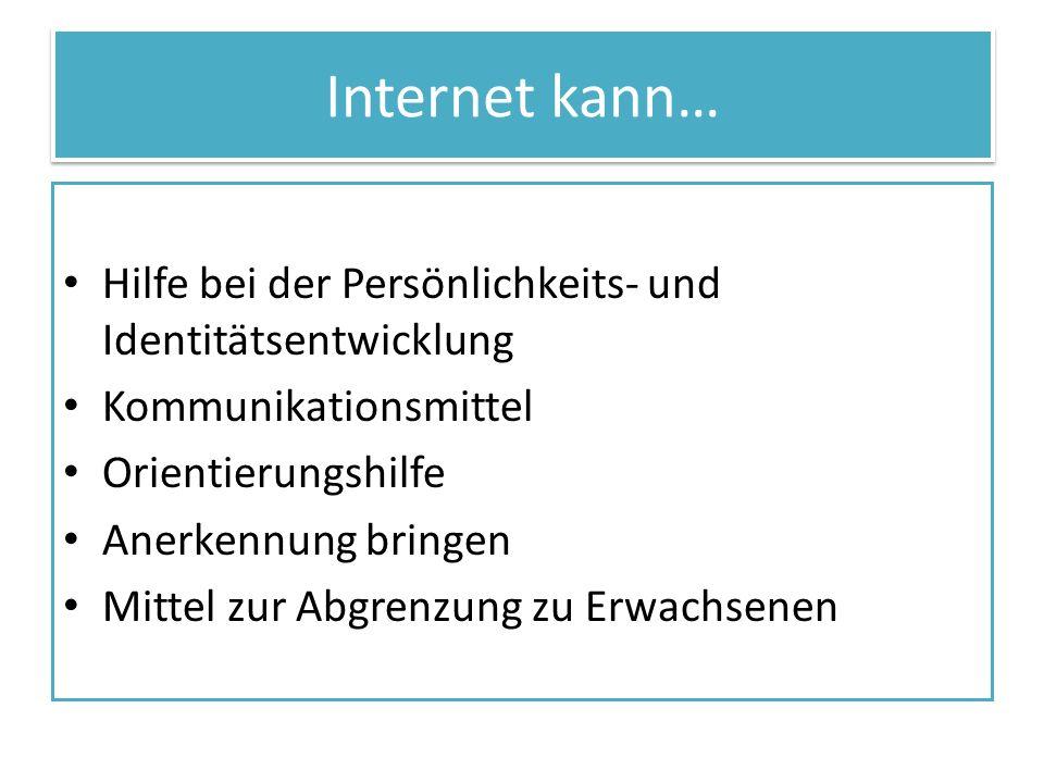 Internet kann… Hilfe bei der Persönlichkeits- und Identitätsentwicklung. Kommunikationsmittel. Orientierungshilfe.