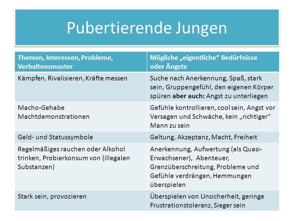 Pubertierende Jungen Themen, Interessen, Probleme, Verhaltensmuster