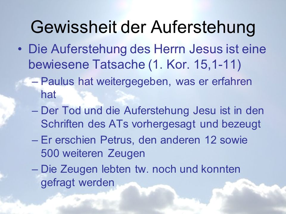 Gewissheit der Auferstehung