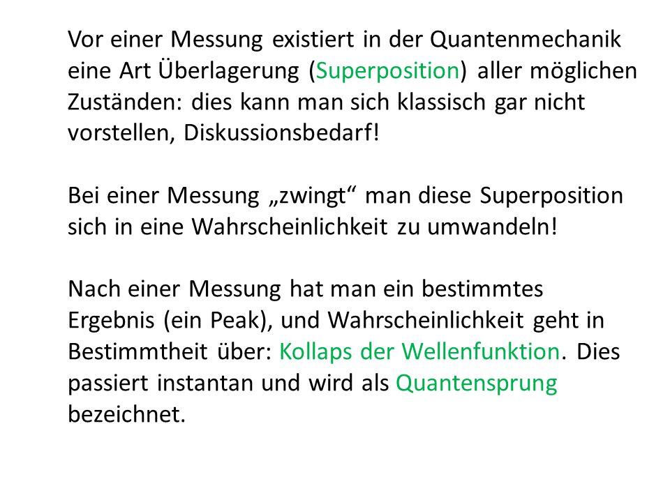Vor einer Messung existiert in der Quantenmechanik eine Art Überlagerung (Superposition) aller möglichen Zuständen: dies kann man sich klassisch gar nicht vorstellen, Diskussionsbedarf!