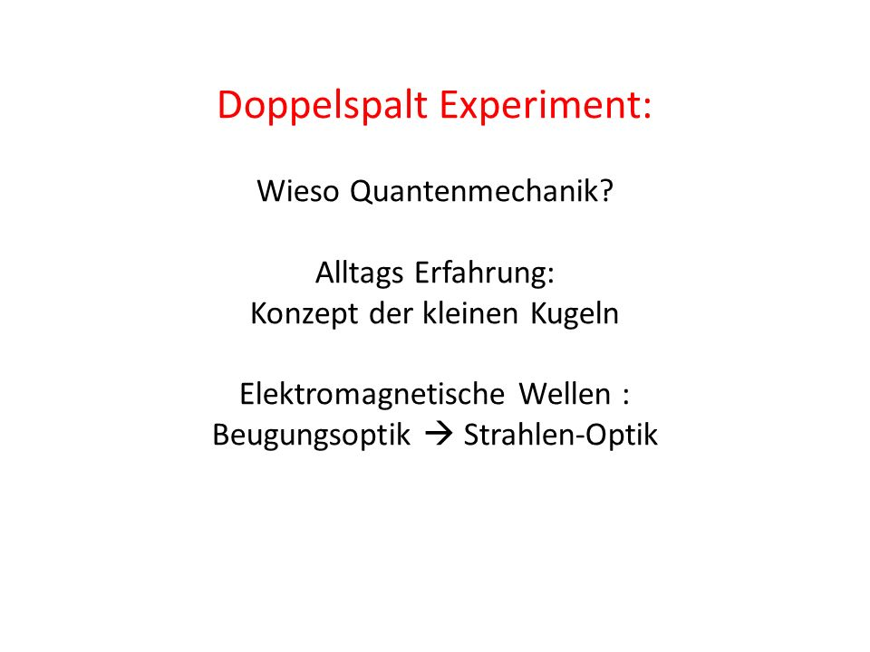 Doppelspalt Experiment: