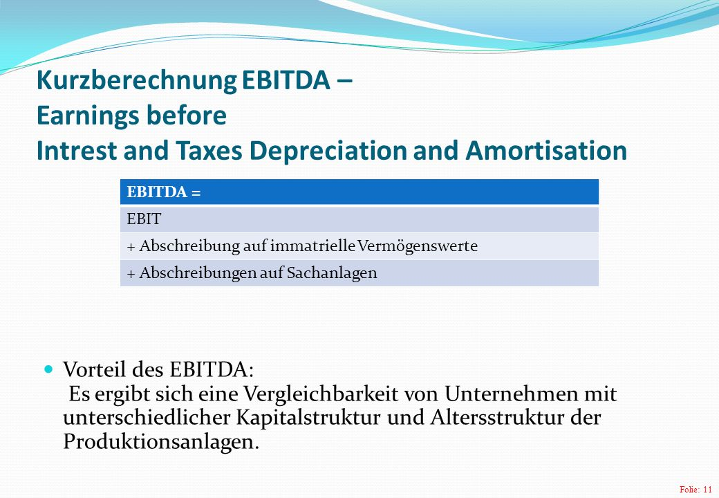 Kurzberechnung EBITDA – Earnings before Intrest and Taxes Depreciation and Amortisation