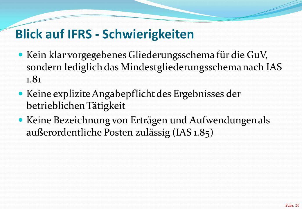 Blick auf IFRS - Schwierigkeiten