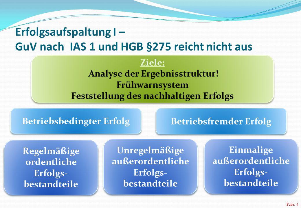 Erfolgsaufspaltung I – GuV nach IAS 1 und HGB §275 reicht nicht aus