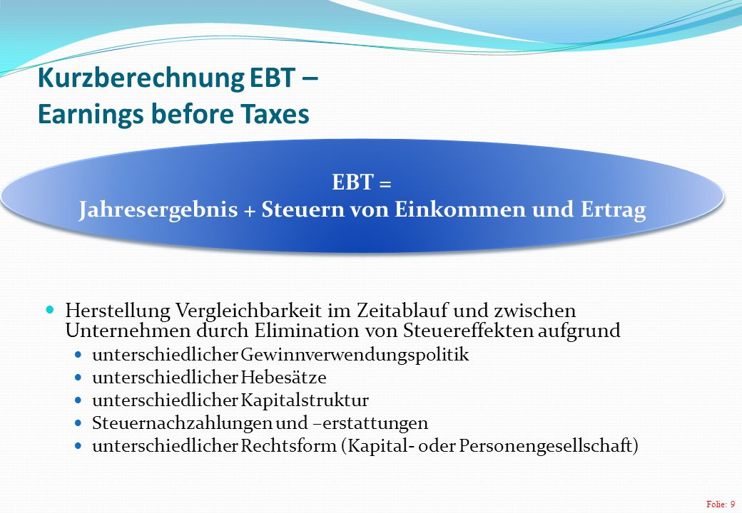 Kurzberechnung EBT – Earnings before Taxes