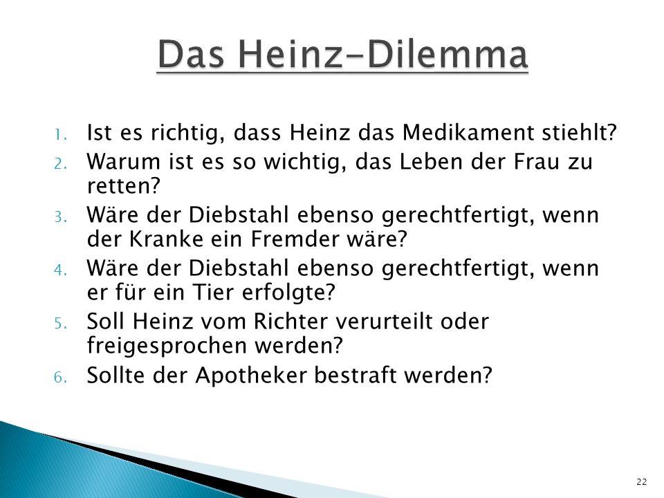 Das Heinz-Dilemma Ist es richtig, dass Heinz das Medikament stiehlt