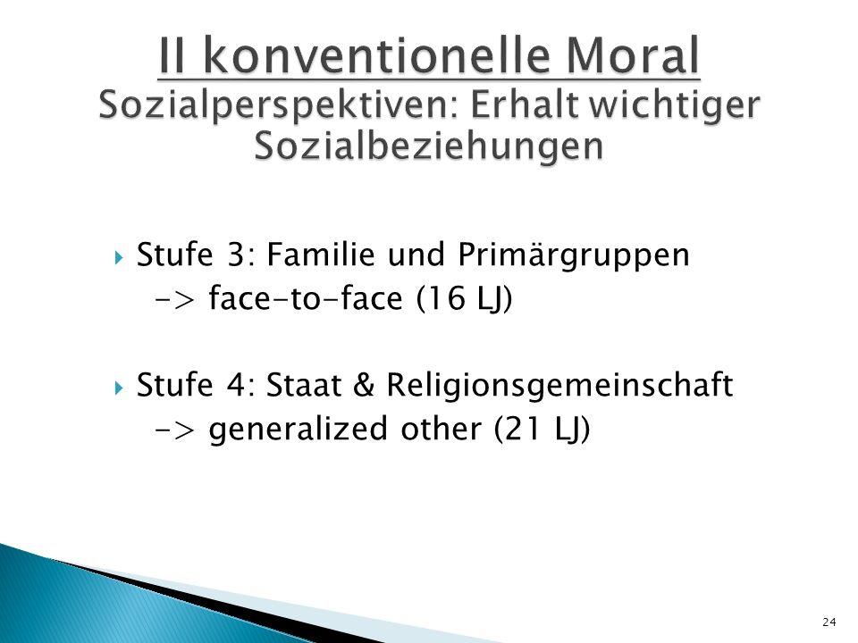 II konventionelle Moral Sozialperspektiven: Erhalt wichtiger Sozialbeziehungen