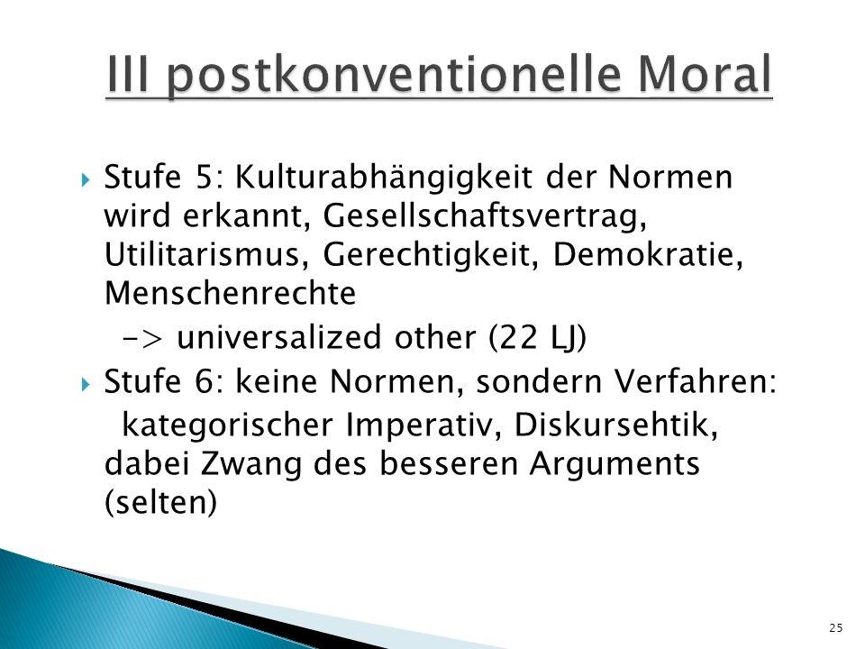 III postkonventionelle Moral