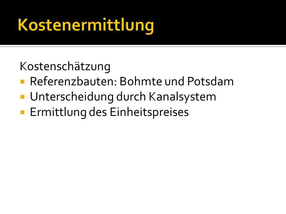 Kostenermittlung Kostenschätzung Referenzbauten: Bohmte und Potsdam