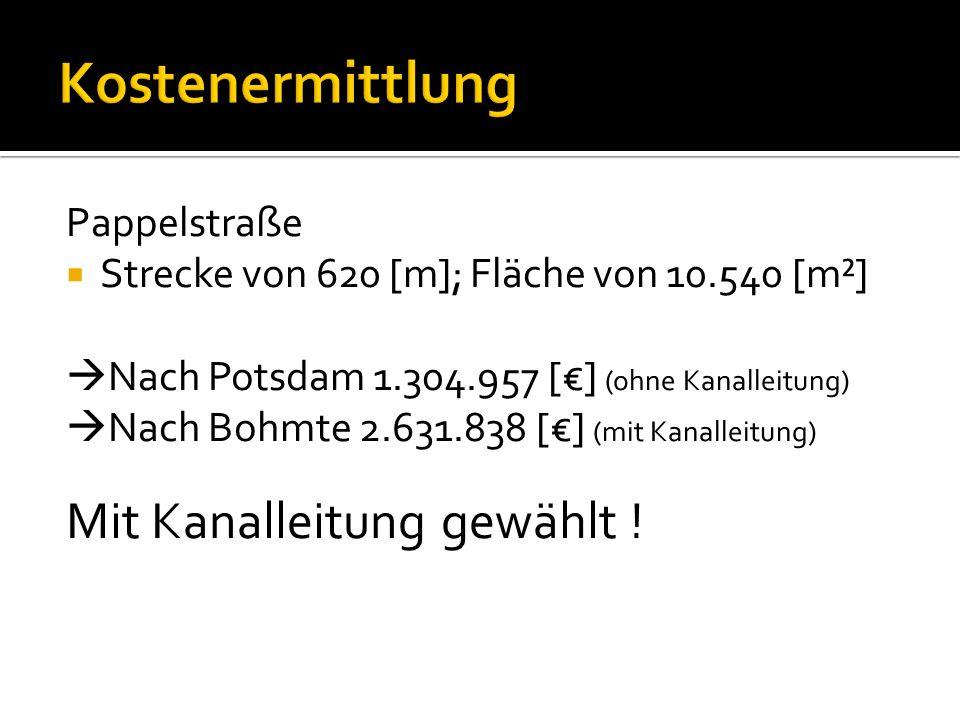 Kostenermittlung Mit Kanalleitung gewählt ! Pappelstraße