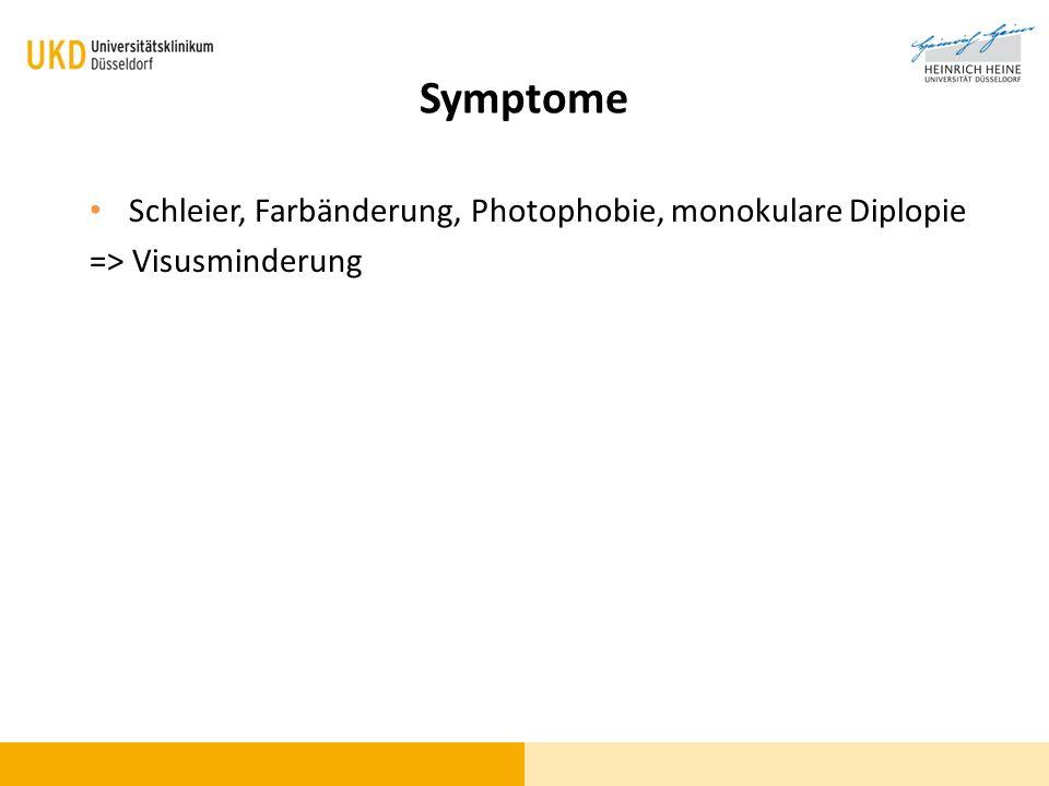 Symptome Schleier, Farbänderung, Photophobie, monokulare Diplopie