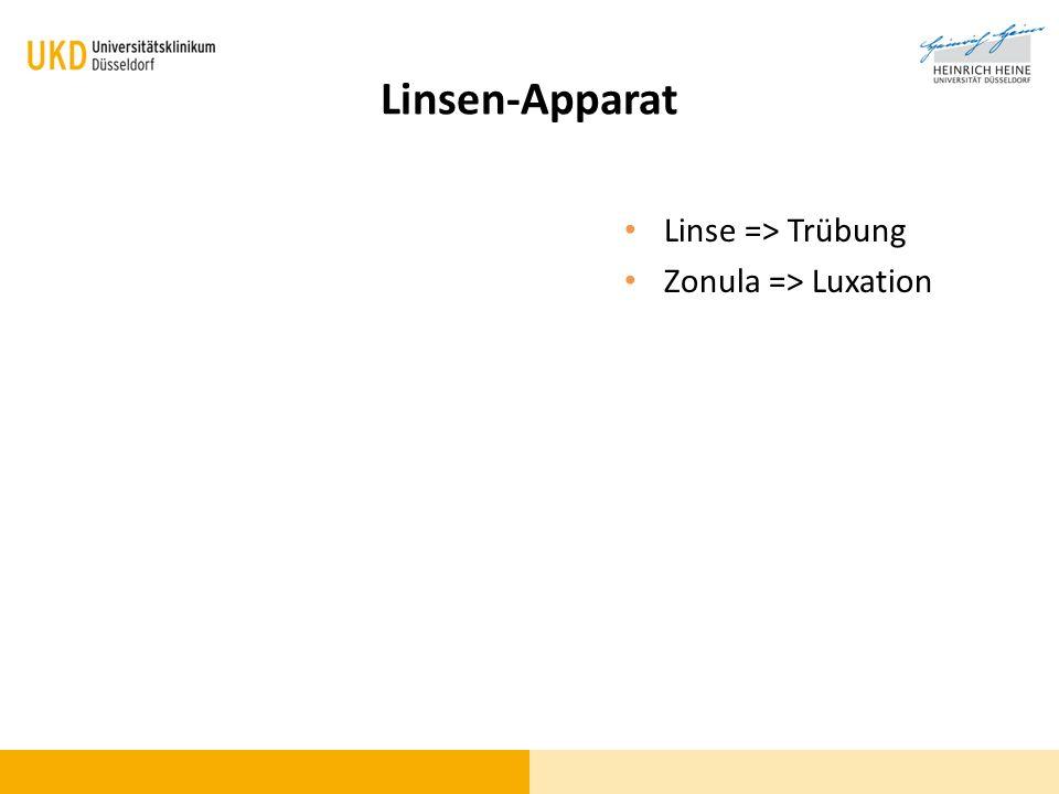 Linsen-Apparat Linse => Trübung Zonula => Luxation