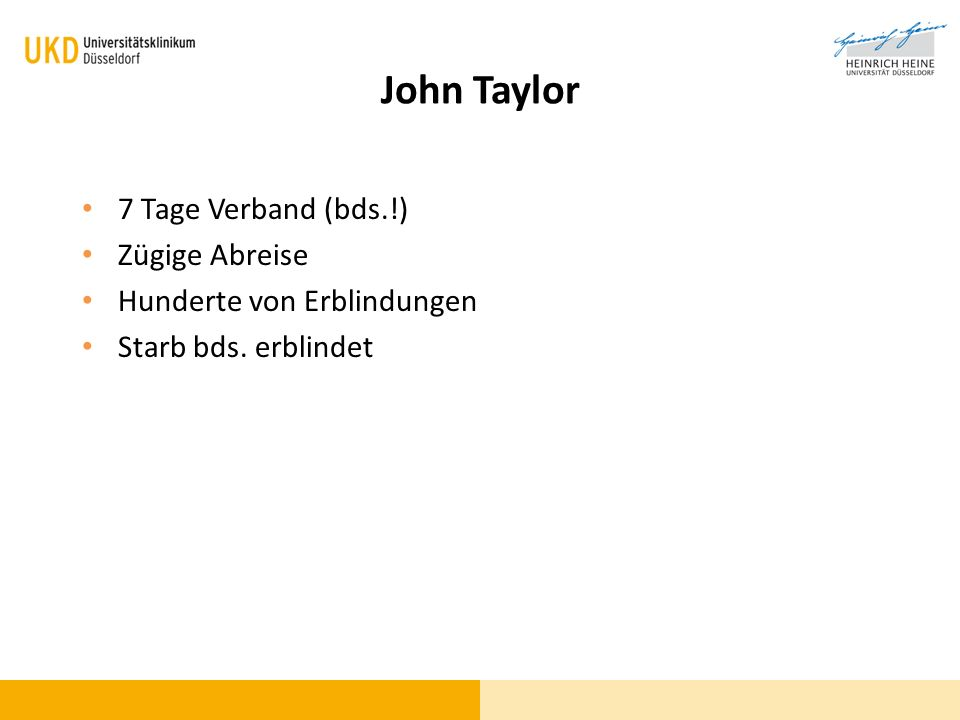 John Taylor 7 Tage Verband (bds.!) Zügige Abreise