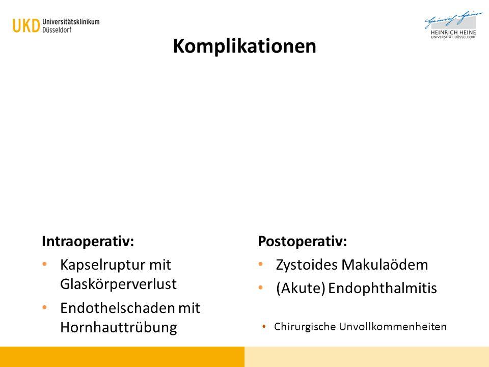 Komplikationen Intraoperativ: Kapselruptur mit Glaskörperverlust
