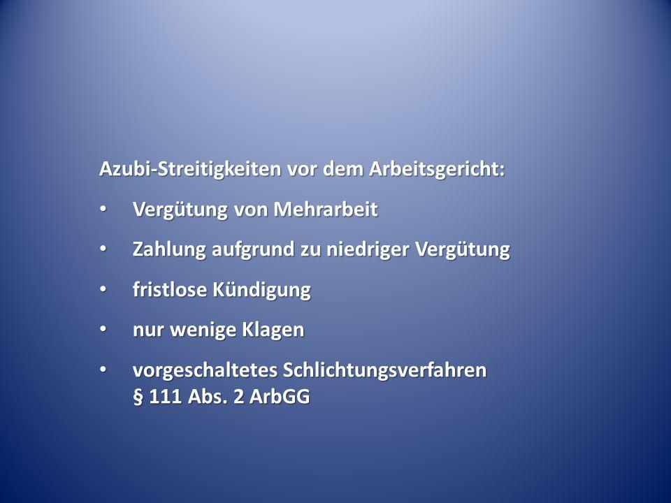 Azubi-Streitigkeiten vor dem Arbeitsgericht:
