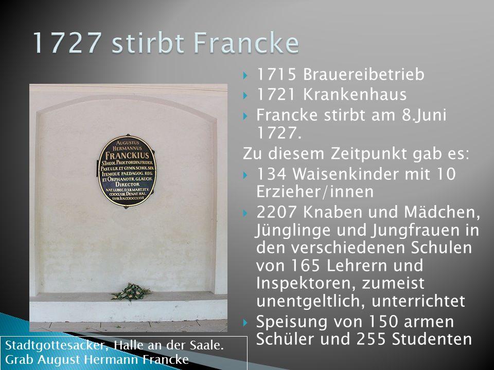 1727 stirbt Francke 1715 Brauereibetrieb 1721 Krankenhaus