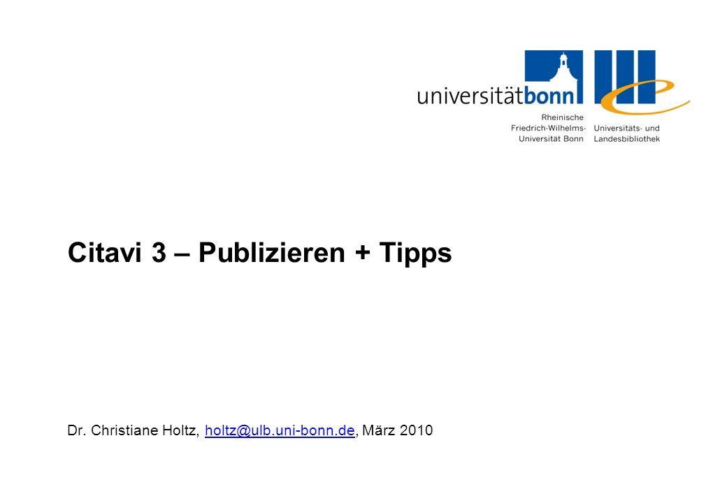 Citavi 3 – Publizieren + Tipps