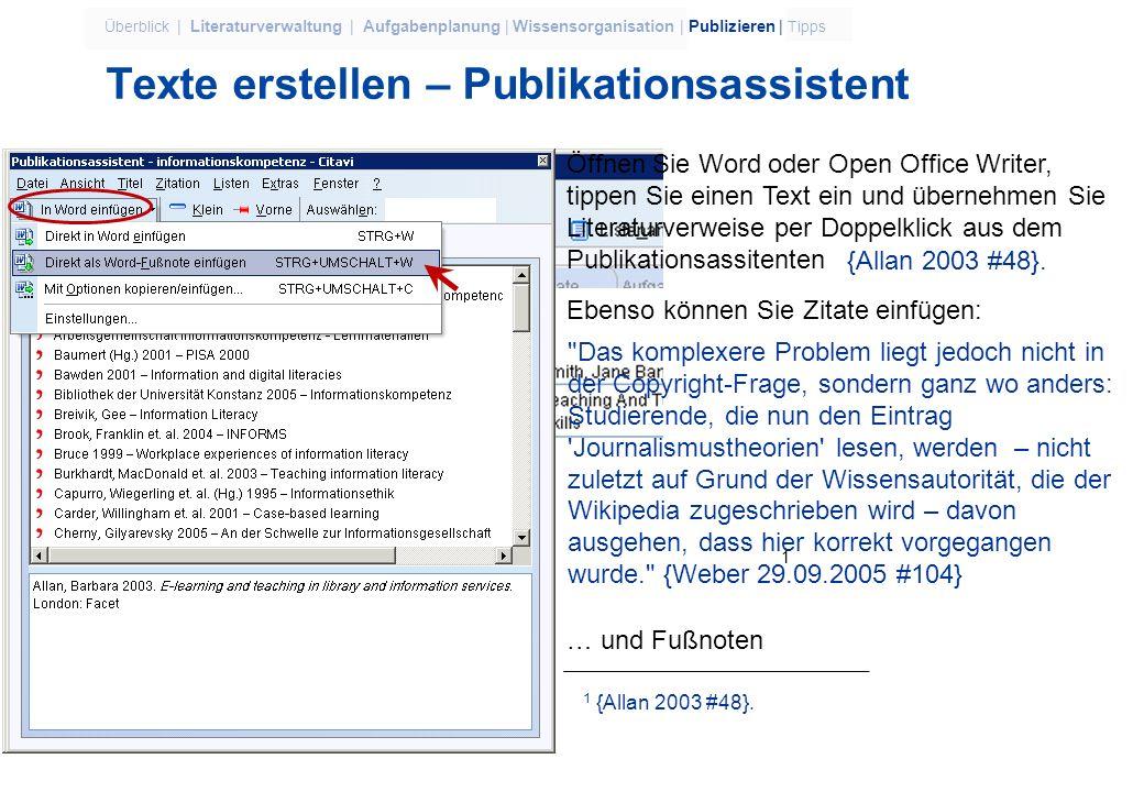 Texte erstellen – Publikationsassistent