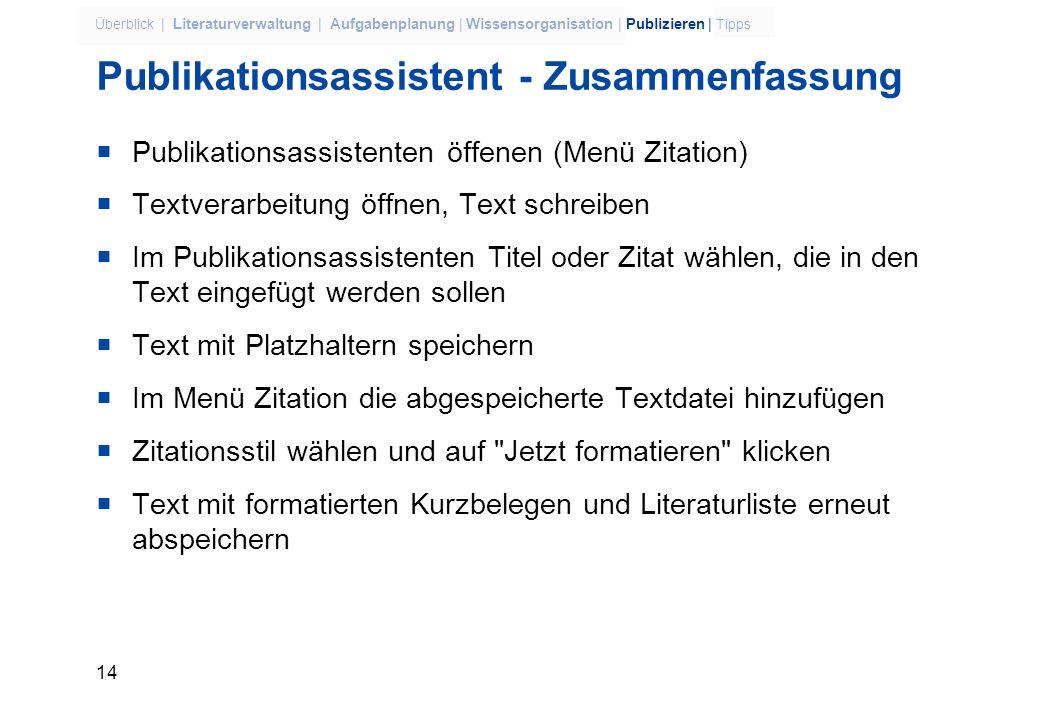 Publikationsassistent - Zusammenfassung
