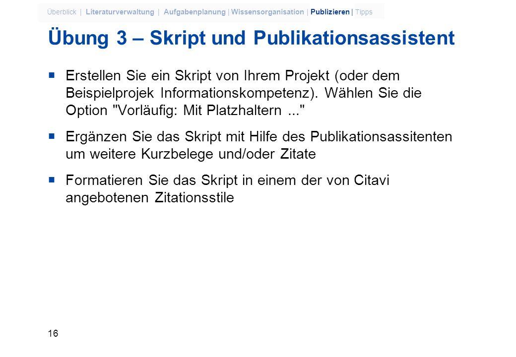 Übung 3 – Skript und Publikationsassistent