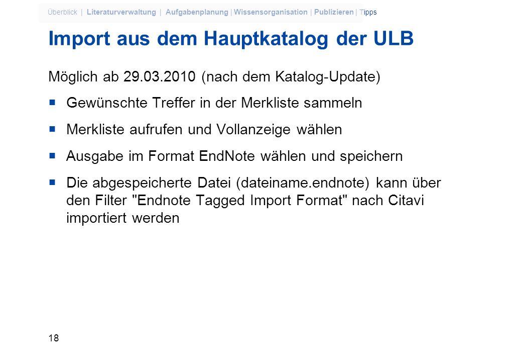 Import aus dem Hauptkatalog der ULB