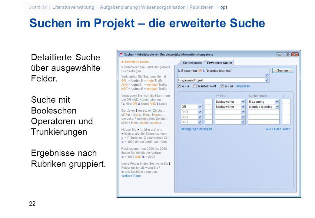 Suchen im Projekt – die erweiterte Suche