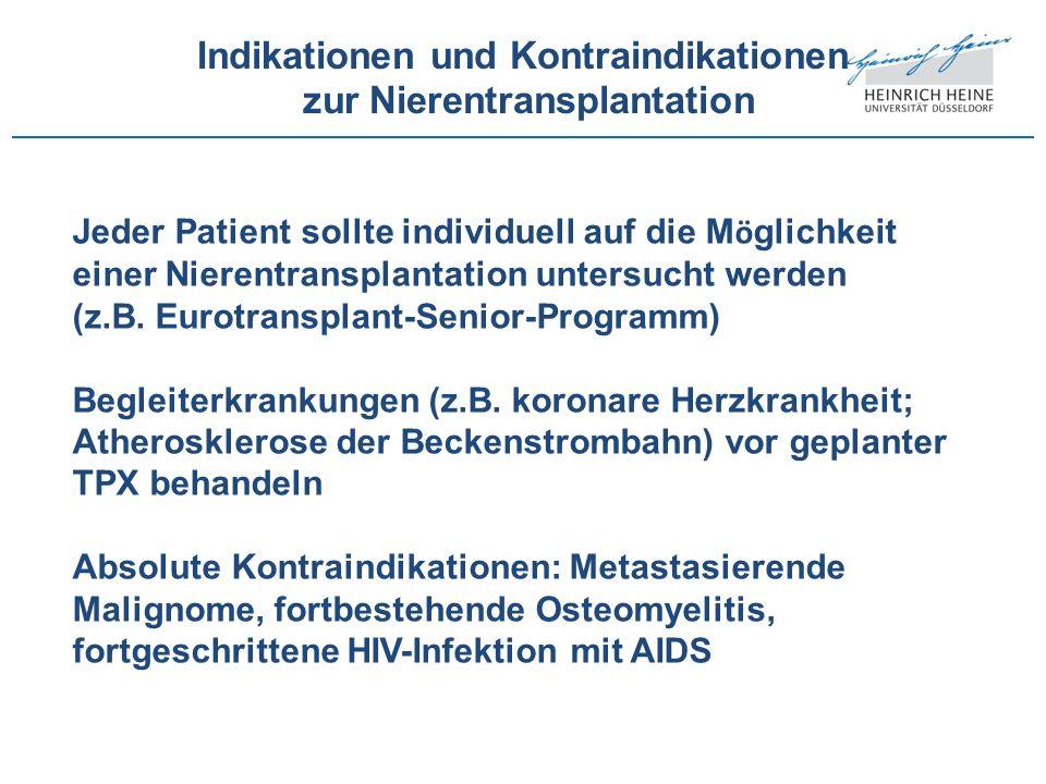 Indikationen und Kontraindikationen zur Nierentransplantation