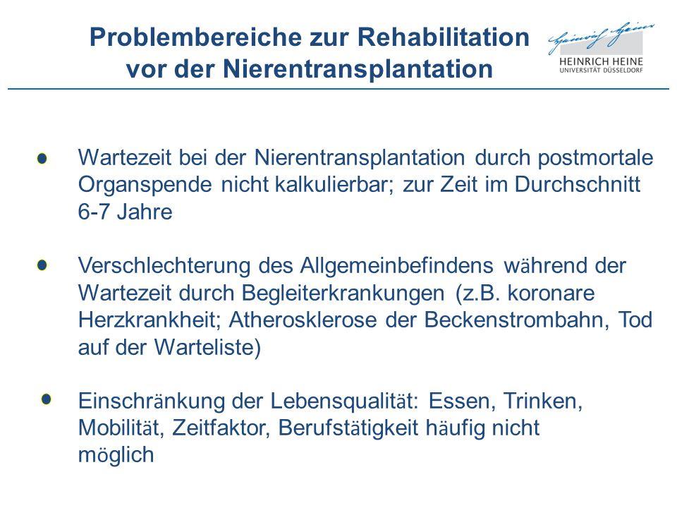 Problembereiche zur Rehabilitation vor der Nierentransplantation