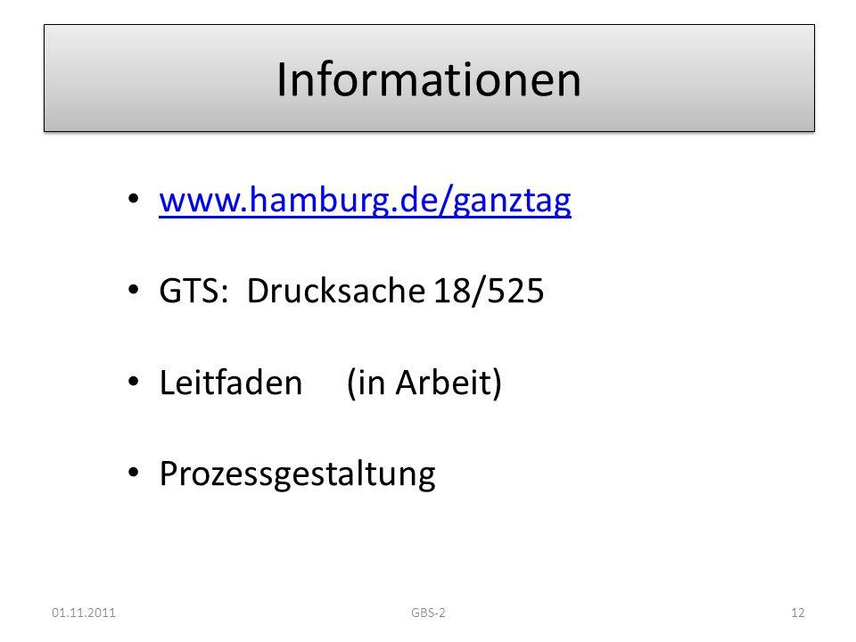 Informationen www.hamburg.de/ganztag GTS: Drucksache 18/525