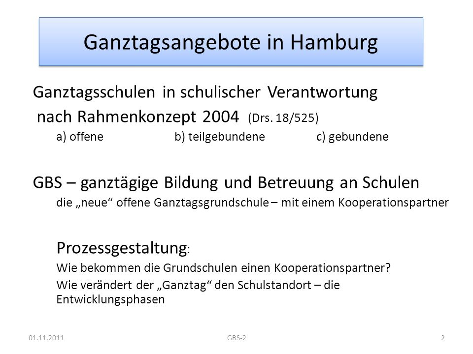 Ganztagsangebote in Hamburg