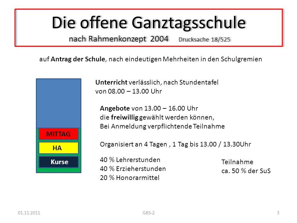 Die offene Ganztagsschule nach Rahmenkonzept 2004 Drucksache 18/525