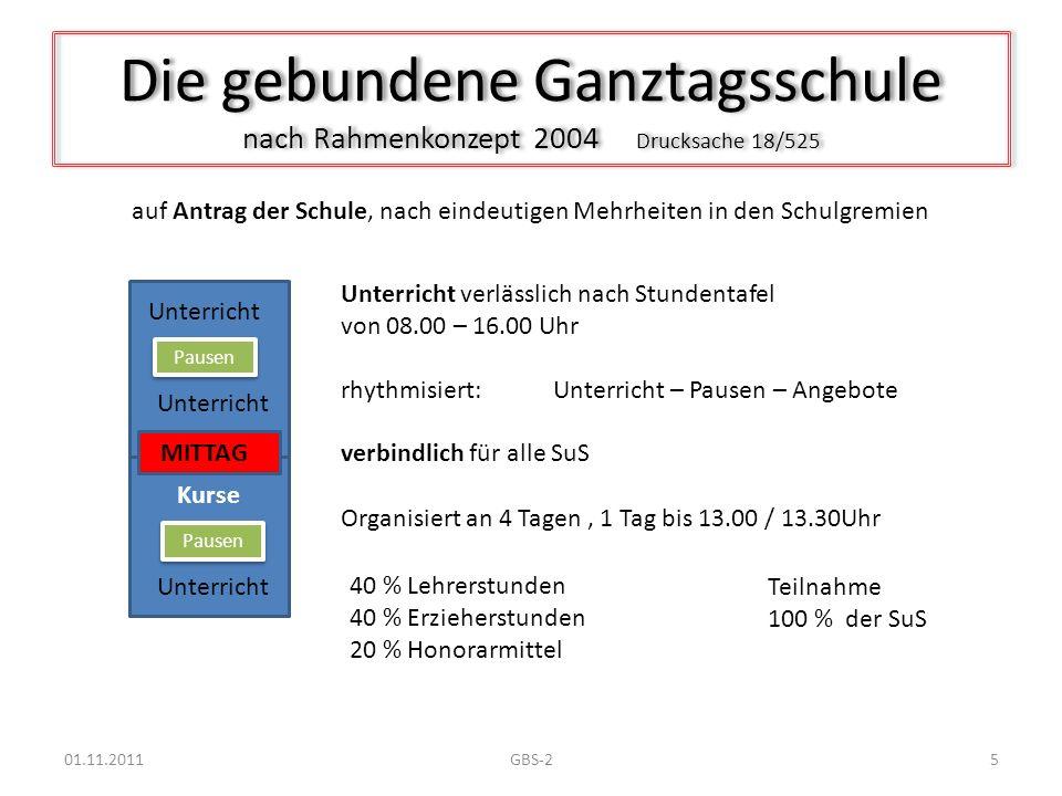 Die gebundene Ganztagsschule nach Rahmenkonzept 2004 Drucksache 18/525