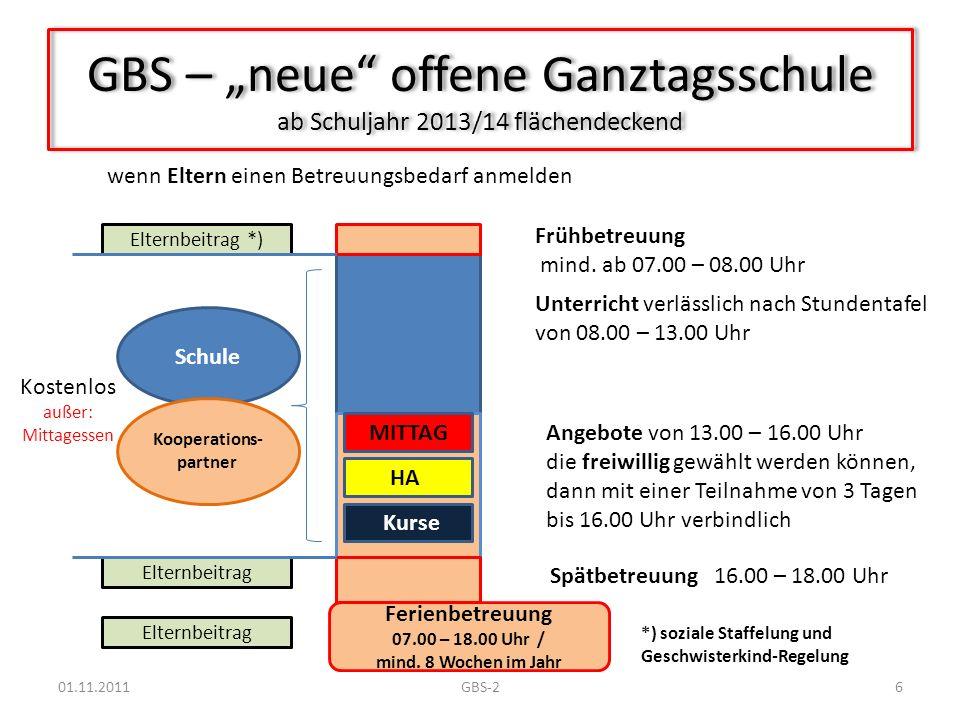 """GBS – """"neue offene Ganztagsschule ab Schuljahr 2013/14 flächendeckend"""