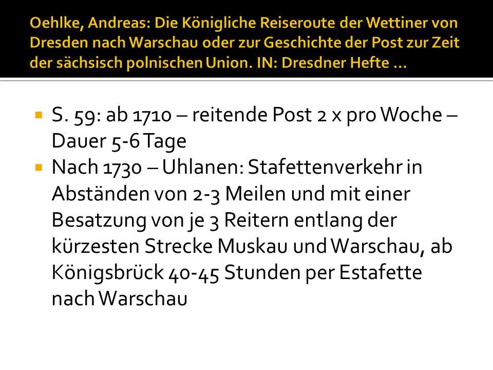 S. 59: ab 1710 – reitende Post 2 x pro Woche – Dauer 5-6 Tage