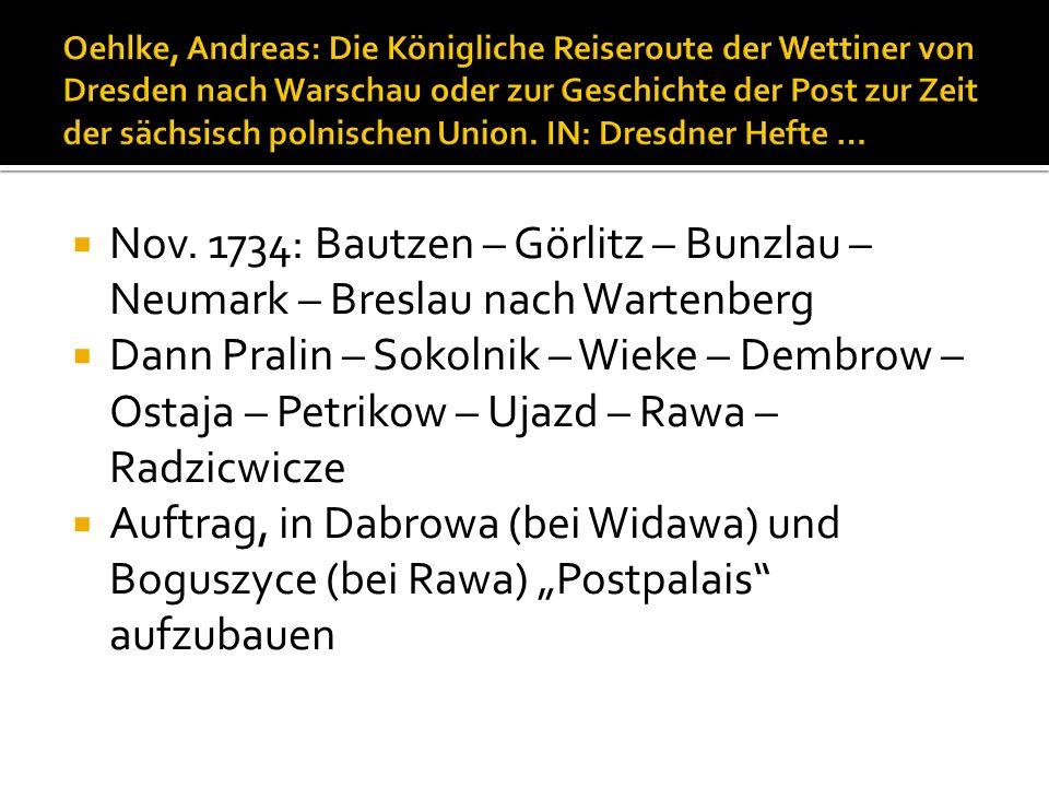 Oehlke, Andreas: Die Königliche Reiseroute der Wettiner von Dresden nach Warschau oder zur Geschichte der Post zur Zeit der sächsisch polnischen Union. IN: Dresdner Hefte …