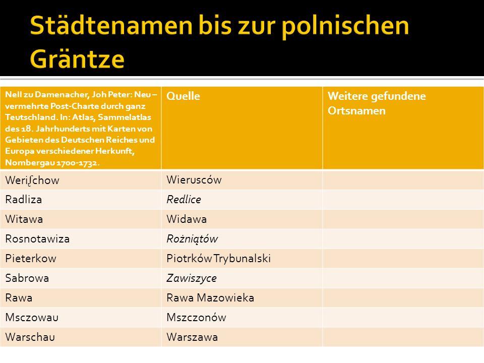 Städtenamen bis zur polnischen Gräntze