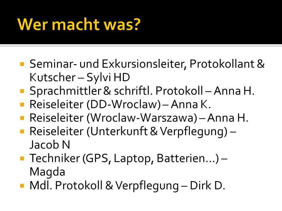 Wer macht was Seminar- und Exkursionsleiter, Protokollant & Kutscher – Sylvi HD. Sprachmittler & schriftl. Protokoll – Anna H.