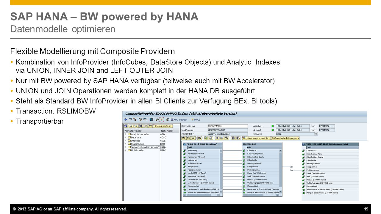 SAP HANA – BW powered by HANA Datenmodelle optimieren