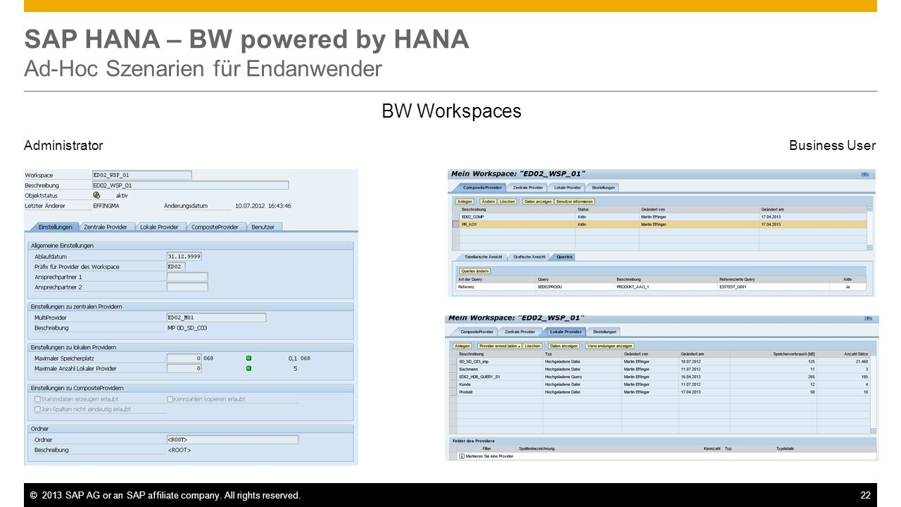 SAP HANA – BW powered by HANA Ad-Hoc Szenarien für Endanwender