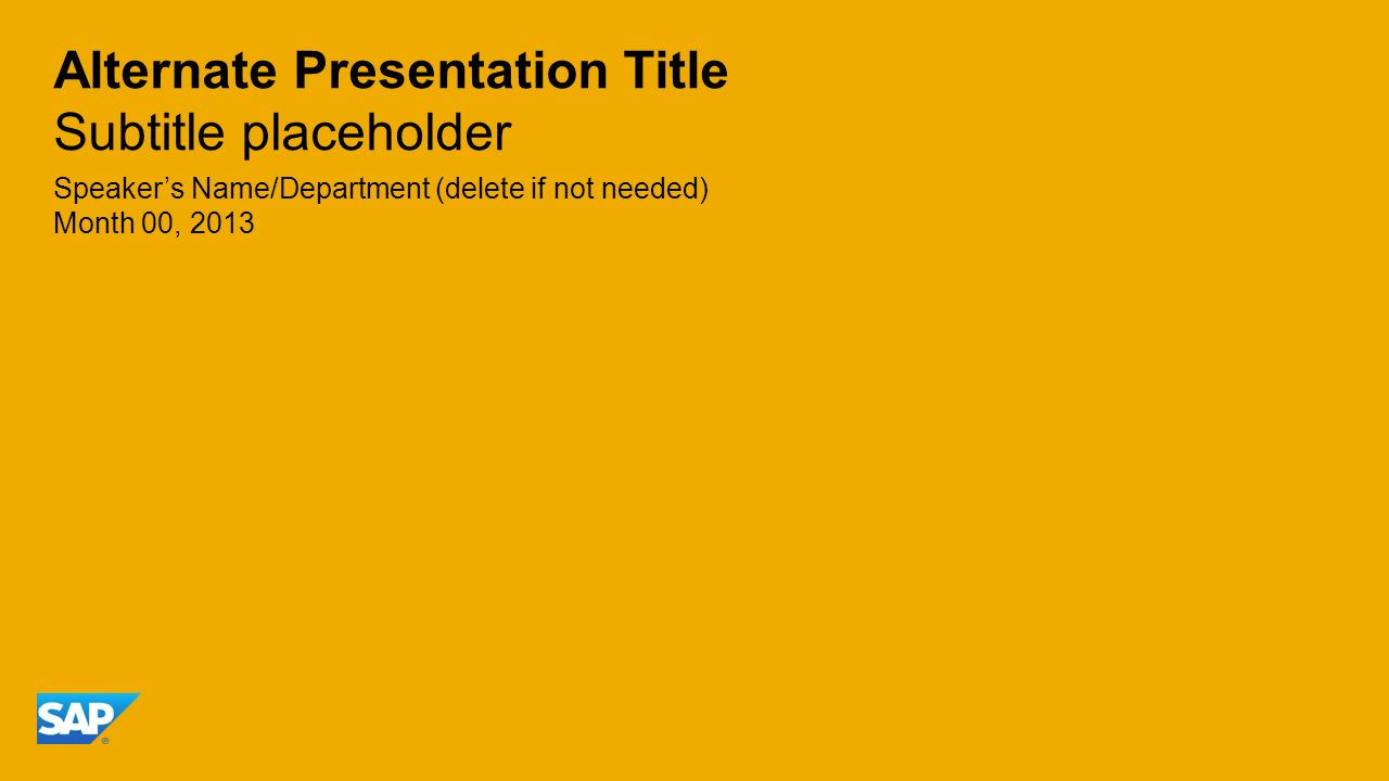 Alternate Presentation Title Subtitle placeholder