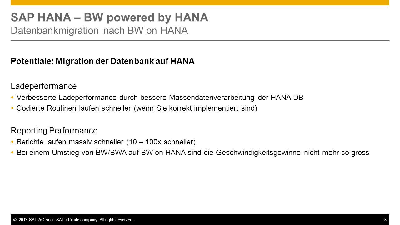 SAP HANA – BW powered by HANA Datenbankmigration nach BW on HANA