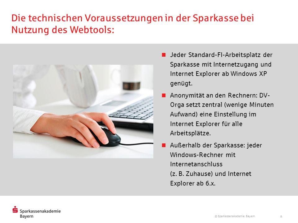 Die technischen Voraussetzungen in der Sparkasse bei Nutzung des Webtools: