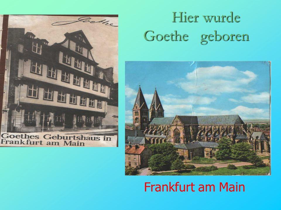 Hier wurde Goethe geboren