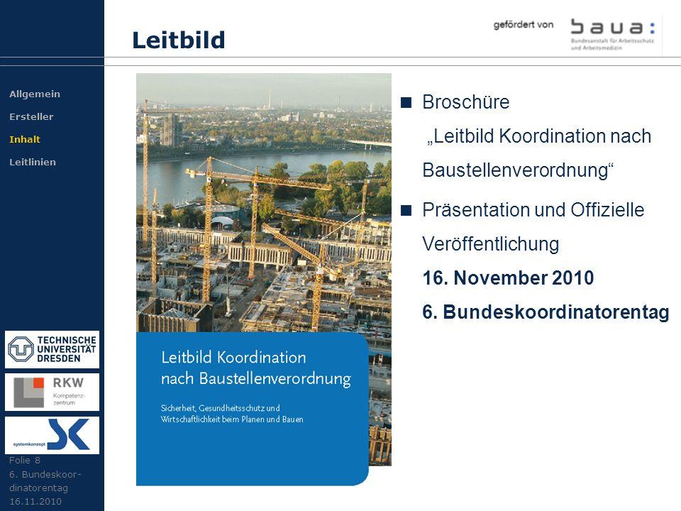 """Leitbild Broschüre """"Leitbild Koordination nach Baustellenverordnung"""