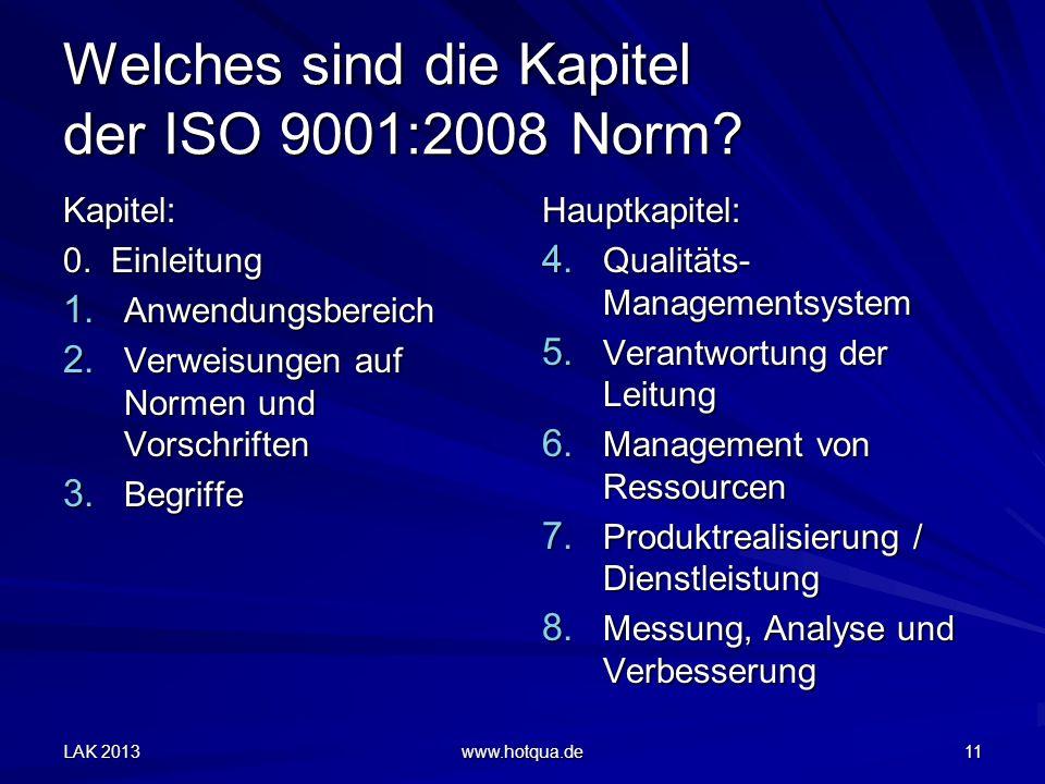 Welches sind die Kapitel der ISO 9001:2008 Norm