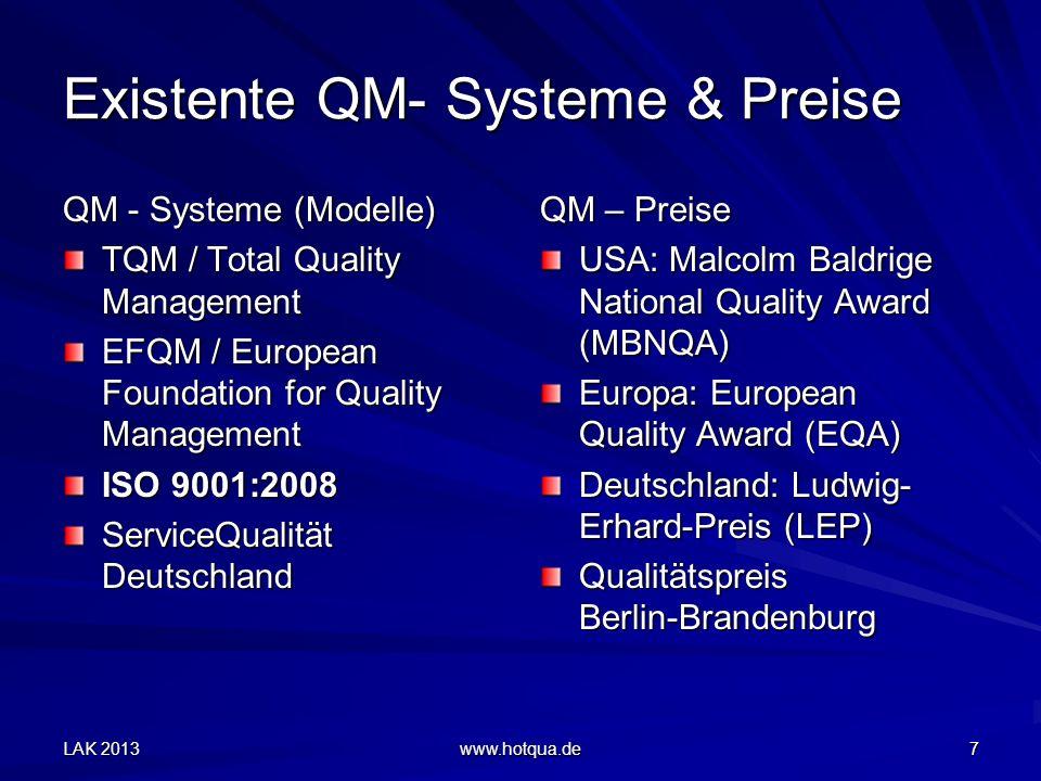 Existente QM- Systeme & Preise